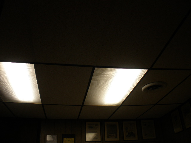 New Ceiling Grid, Tiles, And Lighting